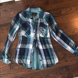 Classic Rails Plaid Western Style  Button Up Shirt